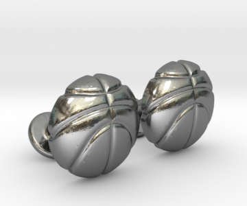 Basketball Ball Cufflinks Silver
