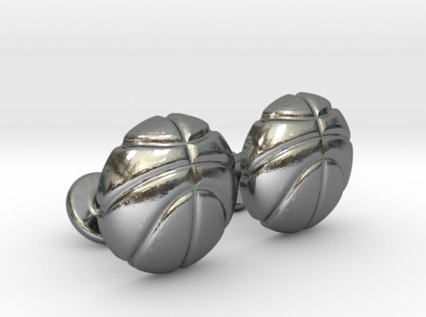 Basketball Ball Cufflinks Silver