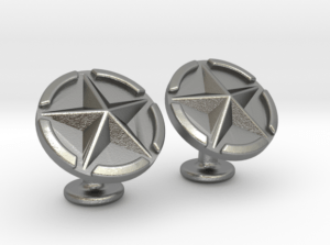US Army Star Cuflinks Raw Silver