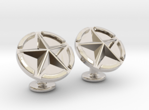 US Army Star Cuflinks Rhodium Plated