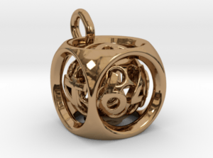 Brass Doubling Cube Pendant