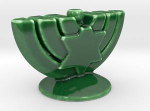 Large porcelain menorah Green