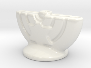 small porcelain menorah white