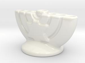 small porcelain menorah white