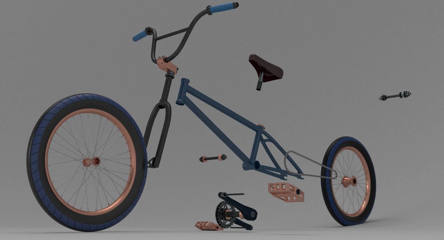 BMX (Bike) exploded 3D Model