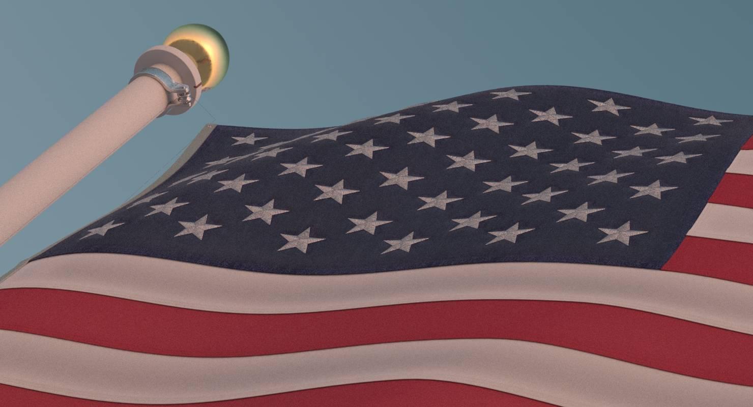 US Flag with Pole