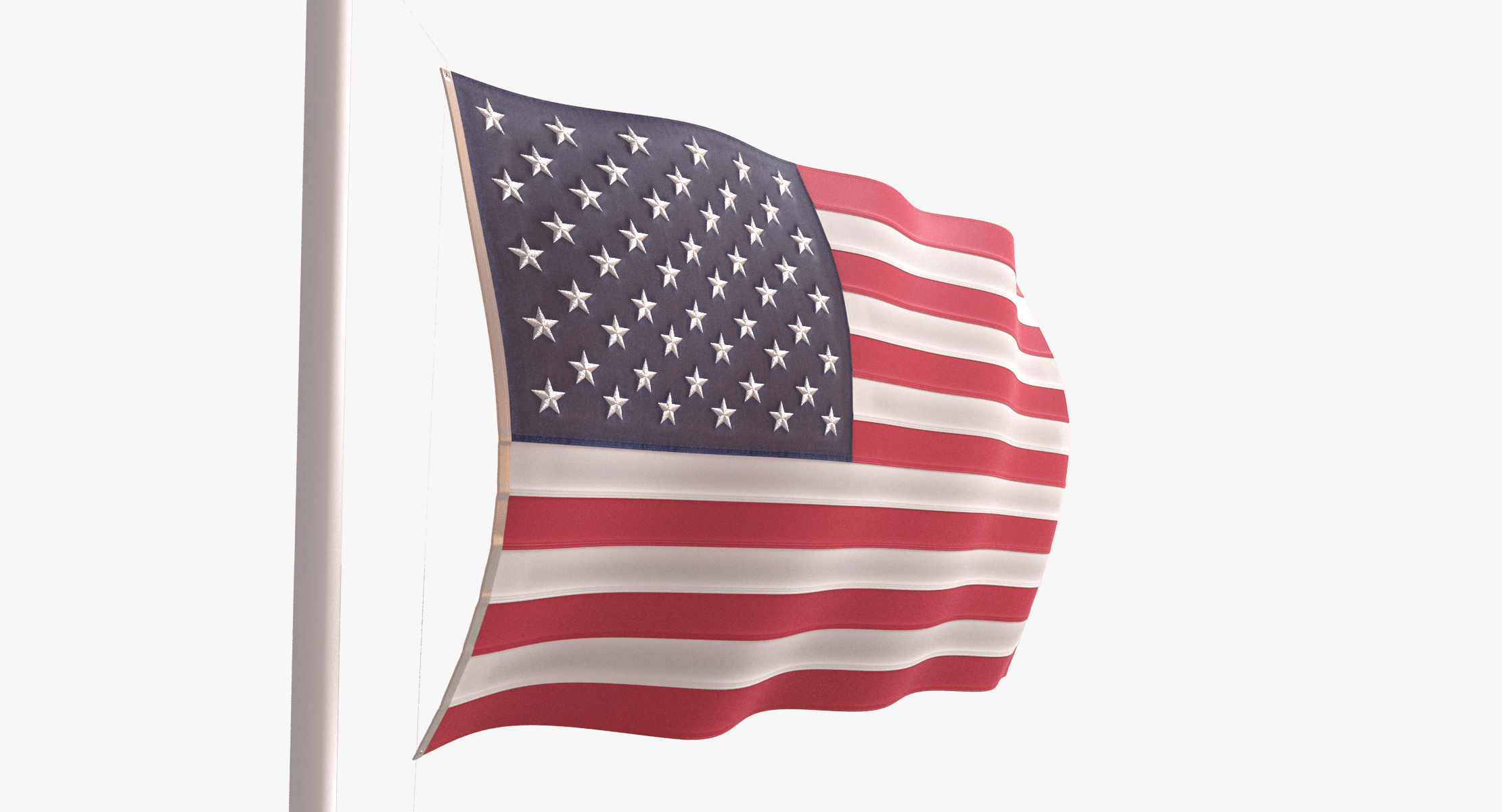 US Flag with Pole