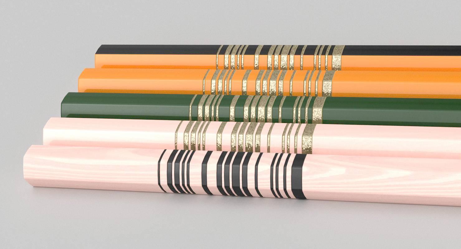 Wooden Pencils 3D Model